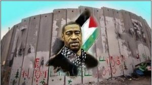 A Palestinian mural of George Floyd painted on the West Bank separation wall.